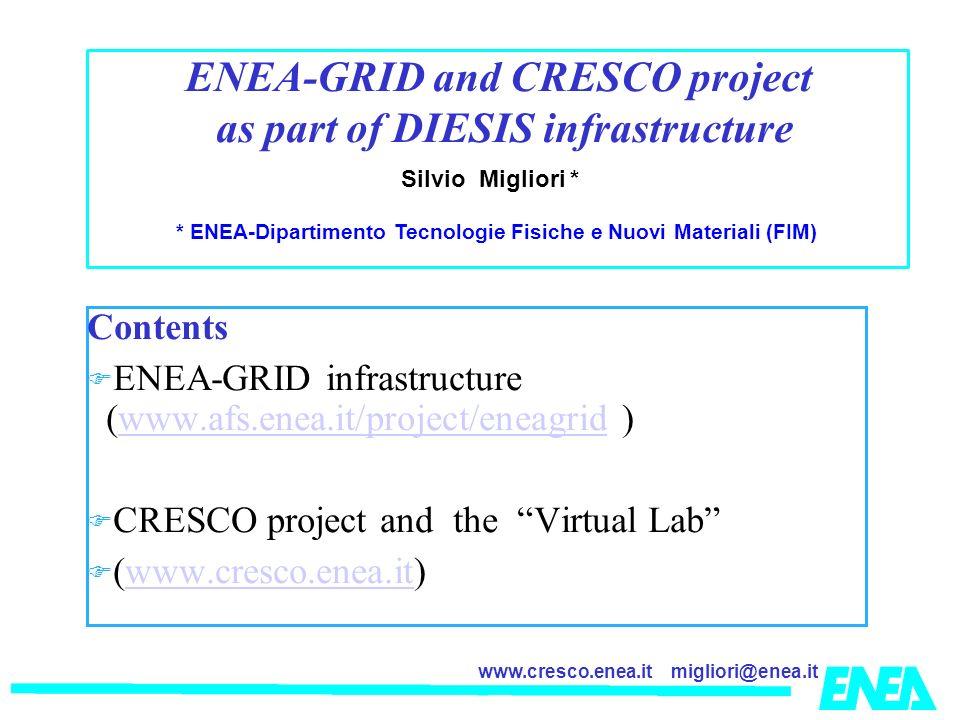 migliori@enea.itwww.cresco.enea.it Contents ENEA-GRID infrastructure (www.afs.enea.it/project/eneagrid )www.afs.enea.it/project/eneagrid CRESCO project and the Virtual Lab (www.cresco.enea.it)www.cresco.enea.it Silvio Migliori * * ENEA-Dipartimento Tecnologie Fisiche e Nuovi Materiali (FIM) ENEA-GRID and CRESCO project as part of DIESIS infrastructure