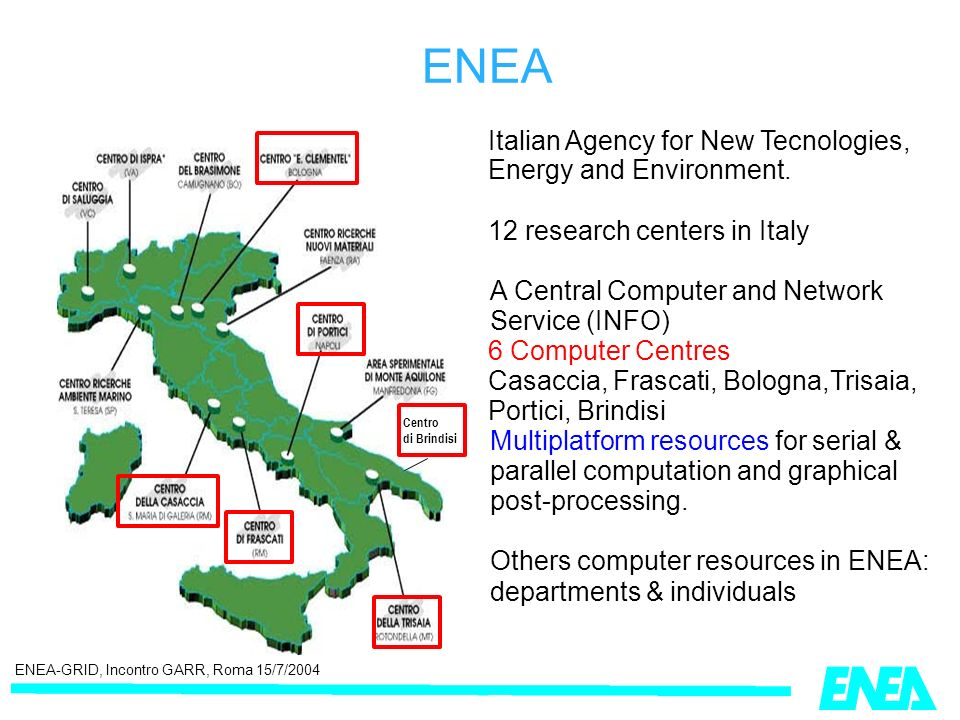 ENEA-GRID, Incontro GARR, Roma 15/7/2004 ENEA Italian Agency for New Tecnologies, Energy and Environment.