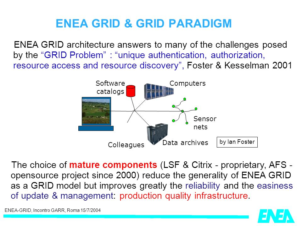 ENEA-GRID, Incontro GARR, Roma 15/7/2004 ENEA GRID architecture answers to many of the challenges posed by the GRID Problem : unique authentication, authorization, resource access and resource discovery, Foster & Kesselman 2001 ENEA GRID & GRID PARADIGM The choice of mature components (LSF & Citrix - proprietary, AFS - opensource project since 2000) reduce the generality of ENEA GRID as a GRID model but improves greatly the reliability and the easiness of update & management: production quality infrastructure.