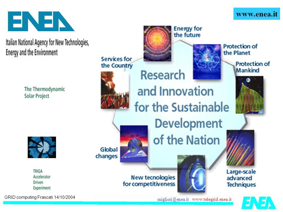 GRID computing Frascati 14/10/2004 migliori@enea.it www.telegrid.enea.it Uno sguardo verso il futuro: la parametrizzazione via Web 4.0 100.0 V Profilo NACA xxx STEPS Definire la geometria e le condizioni al contorno.