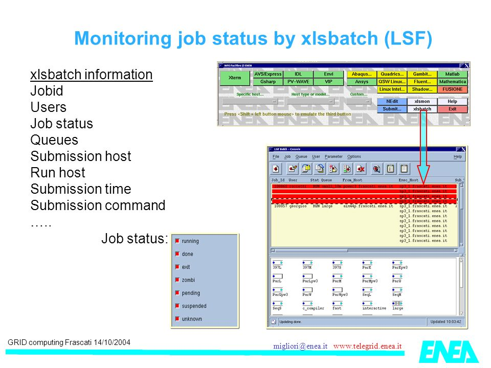 GRID computing Frascati 14/10/2004 migliori@enea.it www.telegrid.enea.it Monitoring job status by xlsbatch (LSF) xlsbatch information Jobid Users Job status Queues Submission host Run host Submission time Submission command …..