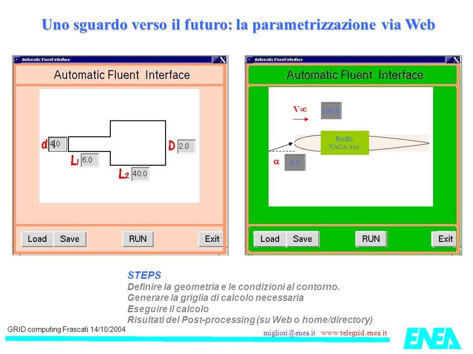 GRID computing Frascati 14/10/2004 migliori@enea.it www.telegrid.enea.it Uno sguardo verso il futuro: la parametrizzazione via Web 4.0 100.0 V Profilo