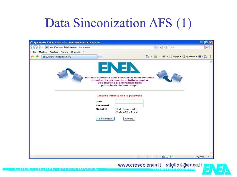 migliori@enea.itwww.cresco.enea.it Corso SISM 9-10 Ottobre 2007 migliori@enea,it Data Sinconization AFS (1)
