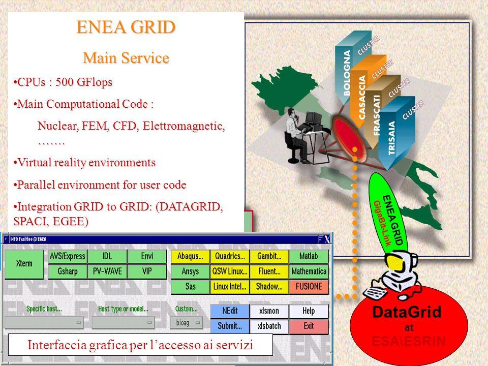ENEA GRID Main Service CPUs : 500 GFlopsCPUs : 500 GFlops Main Computational Code :Main Computational Code : Nuclear, FEM, CFD, Elettromagnetic, ……. V