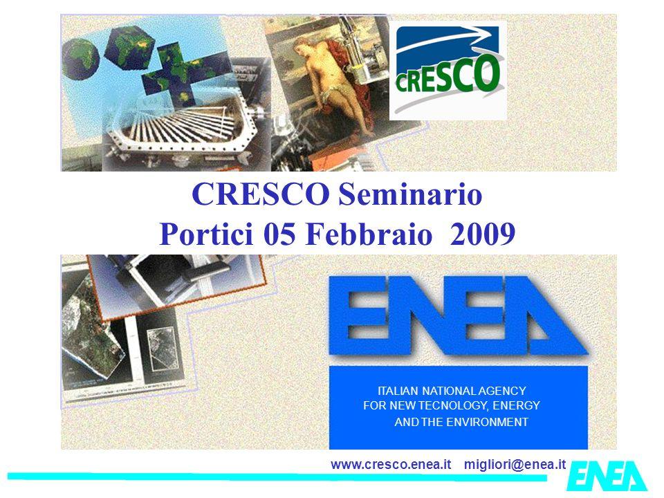 migliori@enea.itwww.cresco.enea.it ITALIAN NATIONAL AGENCY FOR NEW TECNOLOGY, ENERGY AND THE ENVIRONMENT CRESCO Seminario Portici 05 Febbraio 2009