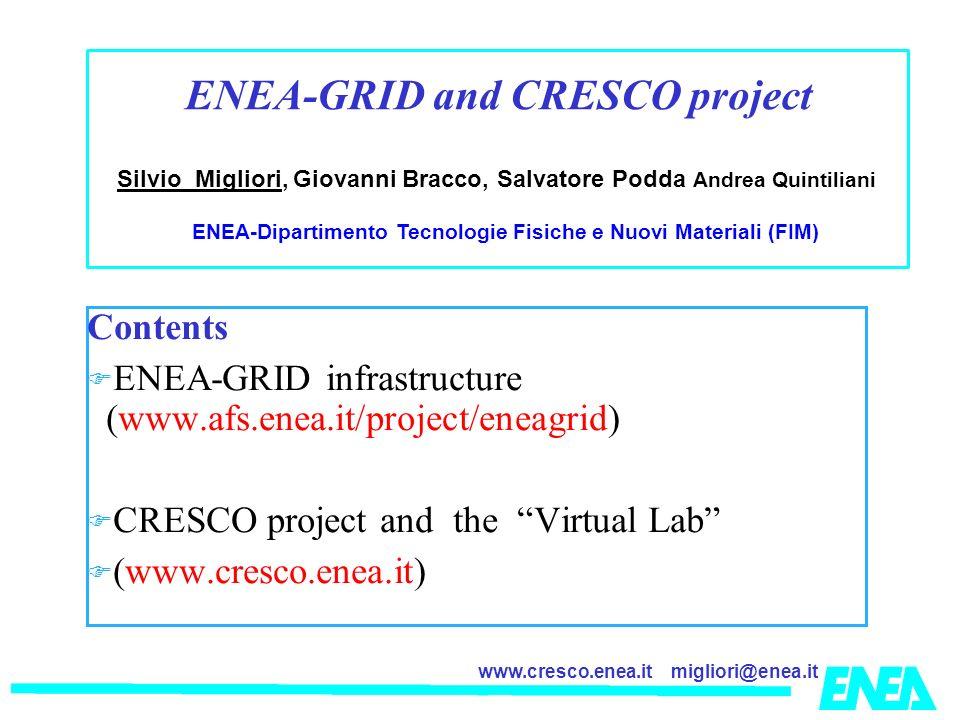 migliori@enea.itwww.cresco.enea.it Contents ENEA-GRID infrastructure (www.afs.enea.it/project/eneagrid) CRESCO project and the Virtual Lab (www.cresco.enea.it) Silvio Migliori, Giovanni Bracco, Salvatore Podda Andrea Quintiliani ENEA-Dipartimento Tecnologie Fisiche e Nuovi Materiali (FIM) ENEA-GRID and CRESCO project