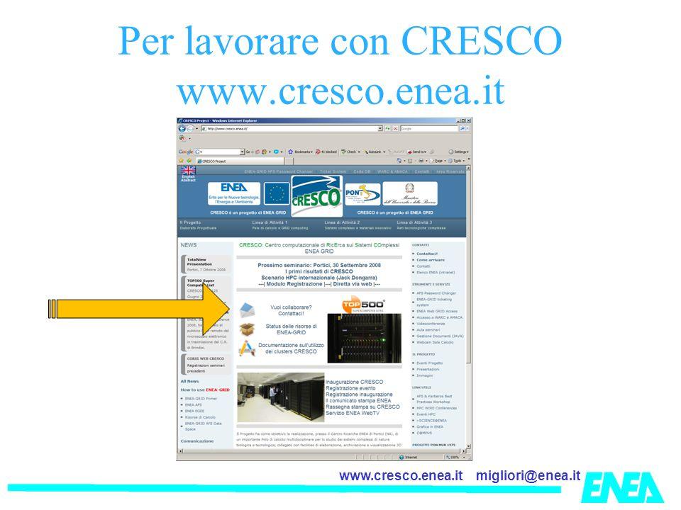 migliori@enea.itwww.cresco.enea.it Per lavorare con CRESCO www.cresco.enea.it