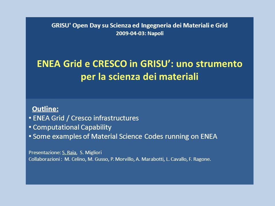 GRISU' Open Day su Scienza ed Ingegneria dei Materiali e Grid 2009-04-03: Napoli ENEA Grid e CRESCO in GRISU: uno strumento per la scienza dei materia