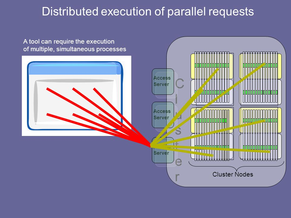 ClusterCluster Cluster Nodes Access Server Access Server Access Server A tool can require the execution of multiple, simultaneous processes Distributed execution of parallel requests