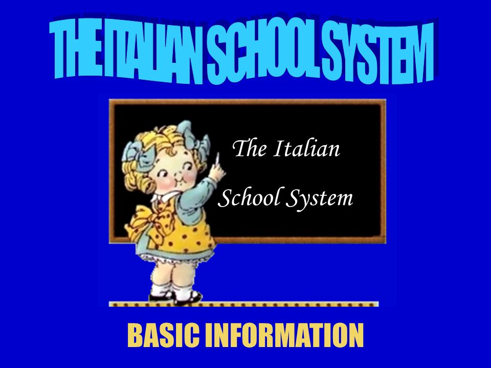 The Italian school system is based on At present, school is compulsory from the age of 6 to 15 years old (probably 16 in a short time), although there is a formative duty/ compulsory training (obbligo formativo) until the age of 18.
