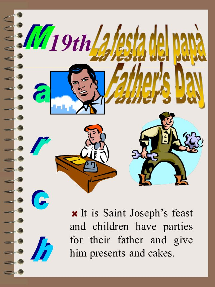 It is Saint Josephs feast and children have parties for their father and give him presents and cakes. 19th