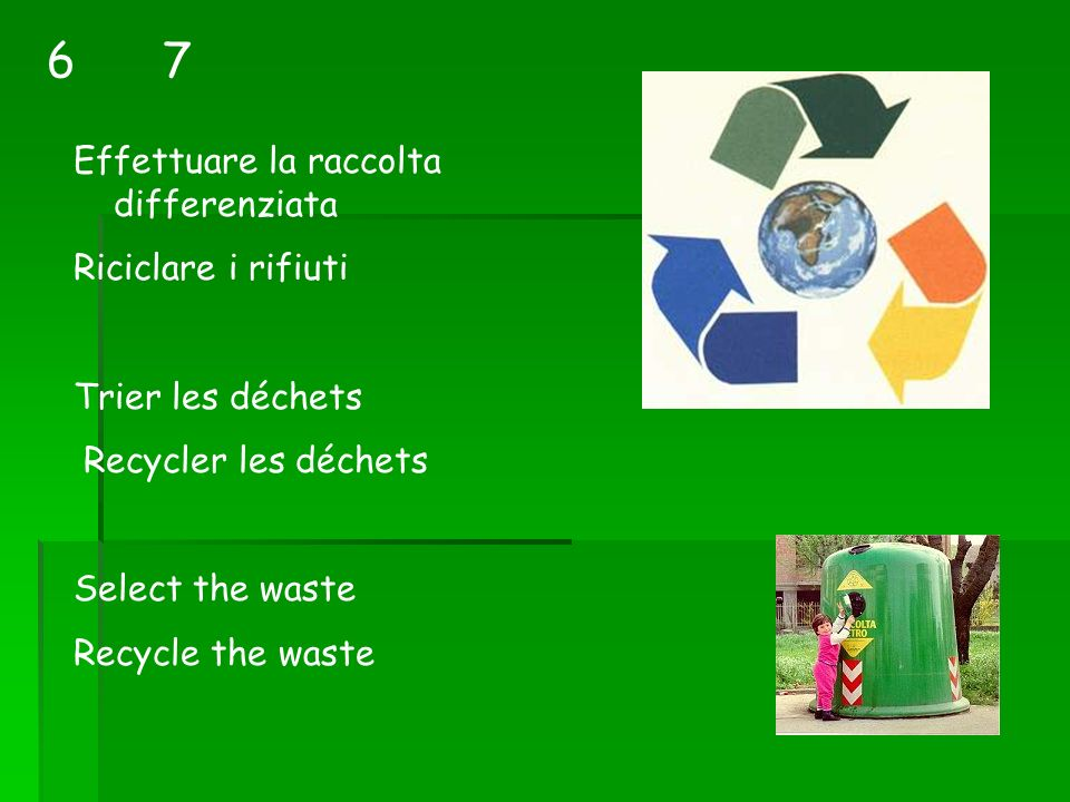 Effettuare la raccolta differenziata Riciclare i rifiuti Trier les déchets Recycler les déchets Select the waste Recycle the waste 76