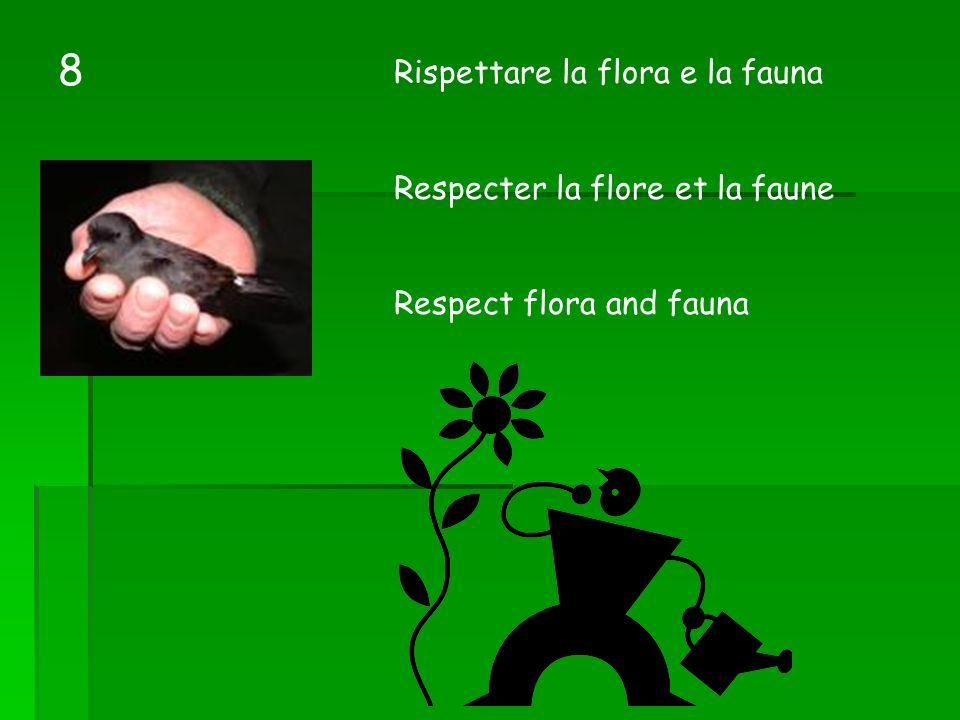 Rispettare la flora e la fauna Respecter la flore et la faune Respect flora and fauna 8