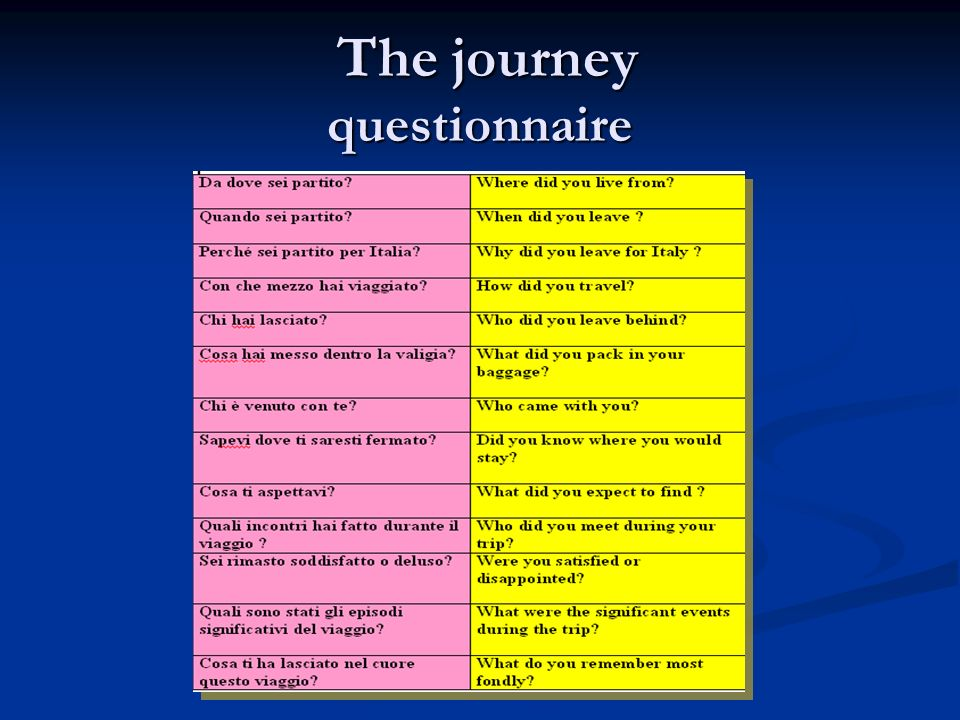 The journey questionnaire The journey questionnaire