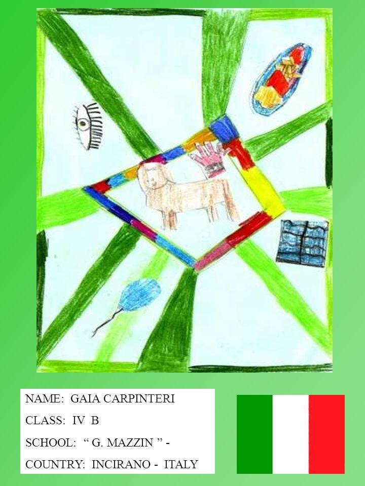 NAME: GAIA CARPINTERI CLASS: IV B SCHOOL: G. MAZZIN - COUNTRY: INCIRANO - ITALY