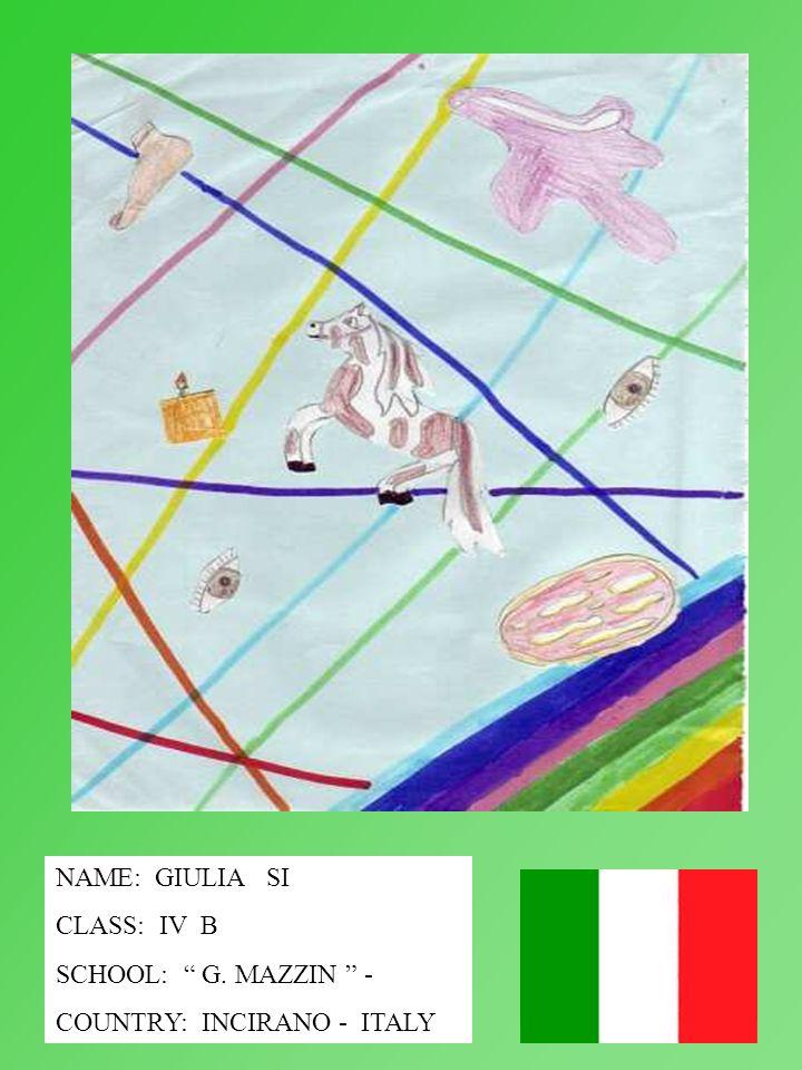 NAME: GIULIA SI CLASS: IV B SCHOOL: G. MAZZIN - COUNTRY: INCIRANO - ITALY
