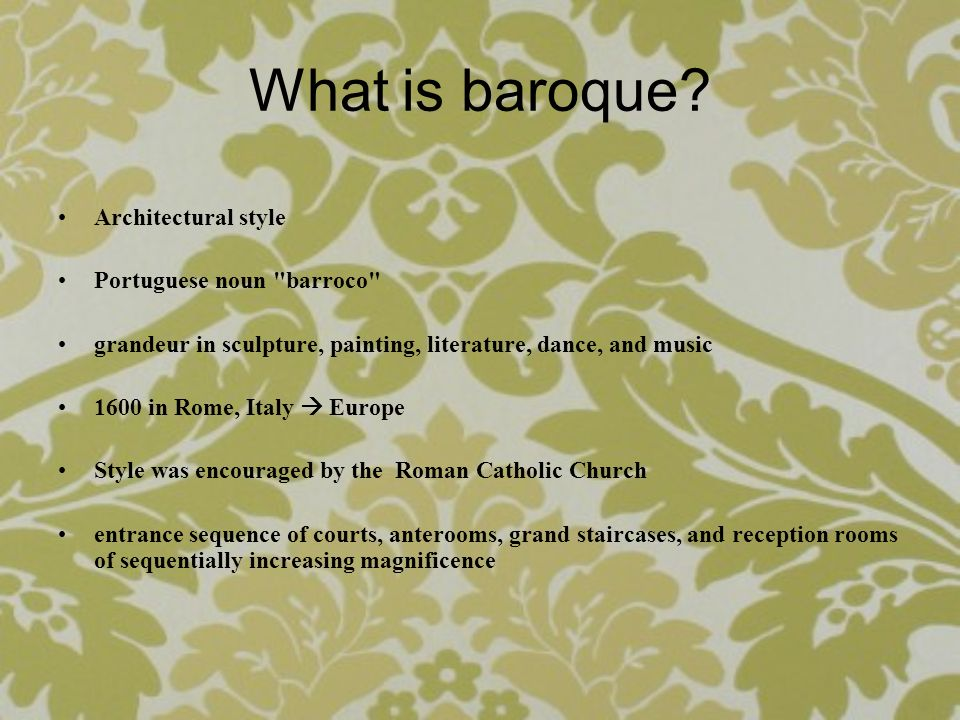 What is baroque? Architectural style Portuguese noun