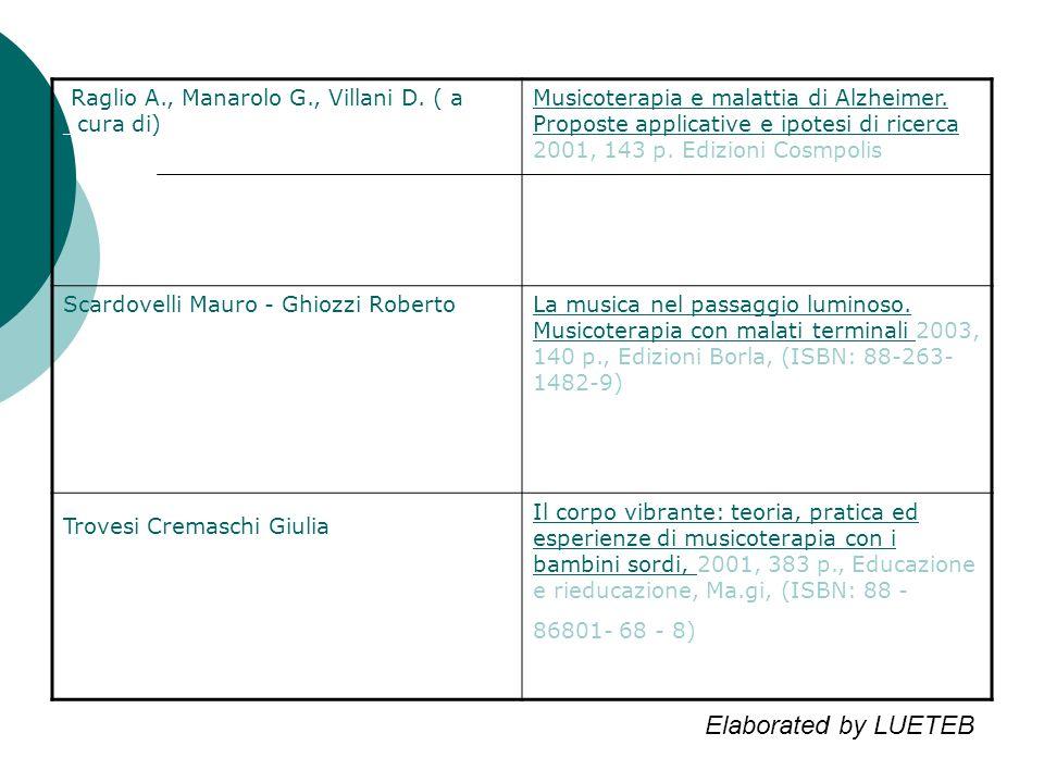 Raglio A., Manarolo G., Villani D. ( a _cura di) Musicoterapia e malattia di Alzheimer.