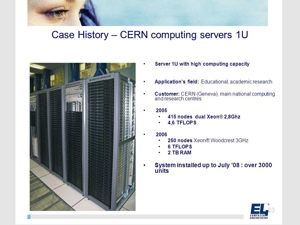 Case History – CERN computing servers 1U Server 1U with high computing capacity Applications field: Educational, academic research Customer: CERN (Gen