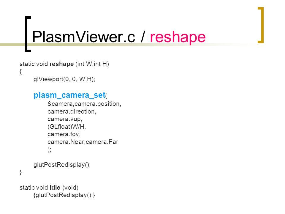 PlasmViewer.c / reshape static void reshape (int W,int H) { glViewport(0, 0, W,H); plasm_camera_set ( &camera,camera.position, camera.direction, camer