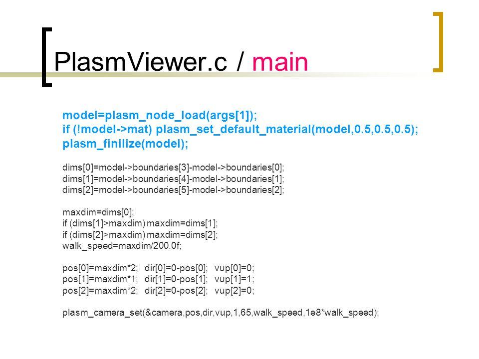 PlasmViewer.c / main model=plasm_node_load(args[1]); if (!model->mat) plasm_set_default_material(model,0.5,0.5,0.5); plasm_finilize(model); dims[0]=mo