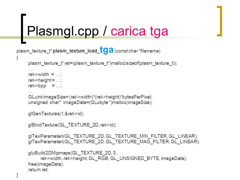 Plasmgl.cpp / carica tga plasm_texture_t* plasm_texture_load_ tga (const char *filename) { plasm_texture_t* ret=(plasm_texture_t*)malloc(sizeof(plasm_