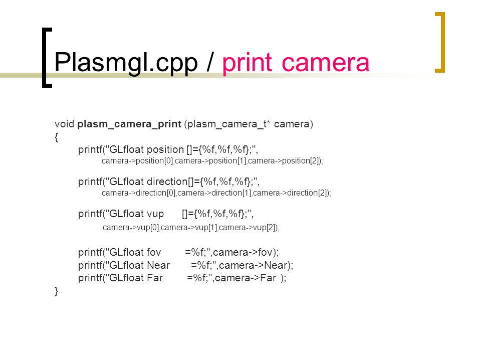 Plasmgl.cpp / print camera void plasm_camera_print (plasm_camera_t* camera) { printf(