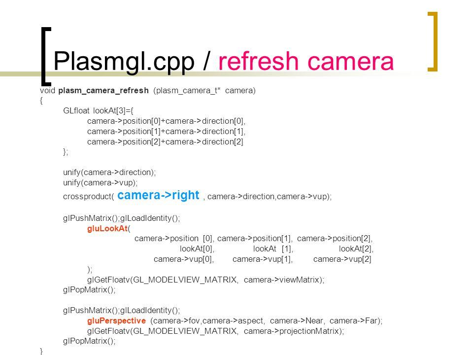 Plasmgl.cpp / refresh camera void plasm_camera_refresh (plasm_camera_t* camera) { GLfloat lookAt[3]={ camera->position[0]+camera->direction[0], camera