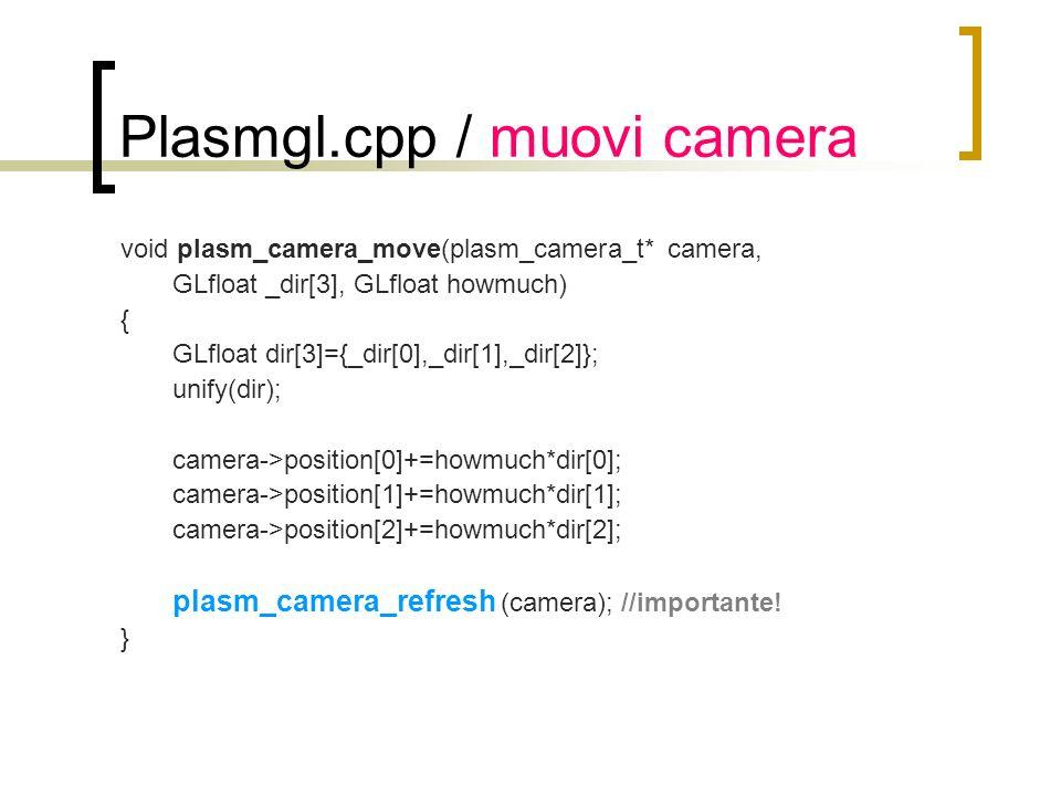 Plasmgl.cpp / muovi camera void plasm_camera_move(plasm_camera_t* camera, GLfloat _dir[3], GLfloat howmuch) { GLfloat dir[3]={_dir[0],_dir[1],_dir[2]}