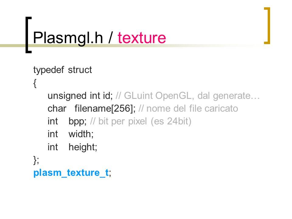 Plasmgl.h / texture typedef struct { unsigned int id; // GLuint OpenGL, dal generate… char filename[256]; // nome del file caricato int bpp; // bit pe