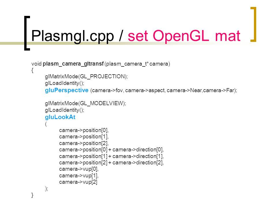 Plasmgl.cpp / set OpenGL mat void plasm_camera_gltransf (plasm_camera_t* camera) { glMatrixMode(GL_PROJECTION); glLoadIdentity(); gluPerspective (came