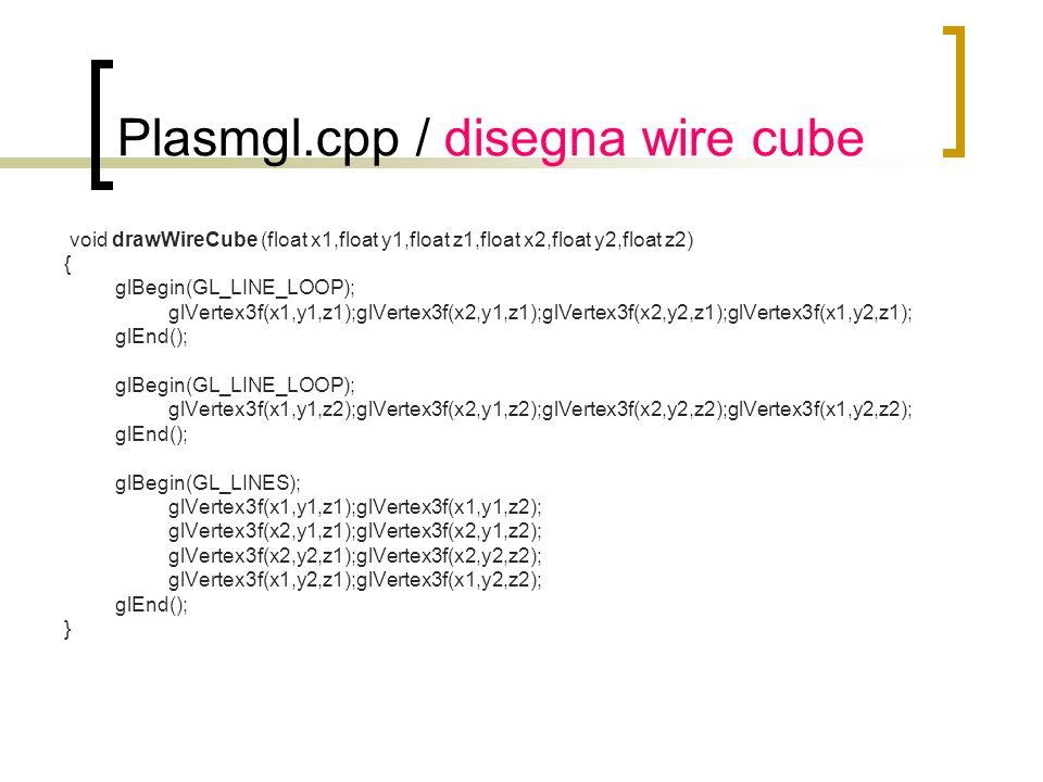 Plasmgl.cpp / disegna wire cube void drawWireCube (float x1,float y1,float z1,float x2,float y2,float z2) { glBegin(GL_LINE_LOOP); glVertex3f(x1,y1,z1