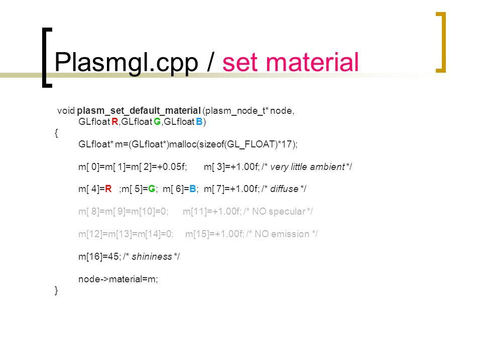 Plasmgl.cpp / set material void plasm_set_default_material (plasm_node_t* node, GLfloat R,GLfloat G,GLfloat B) { GLfloat* m=(GLfloat*)malloc(sizeof(GL