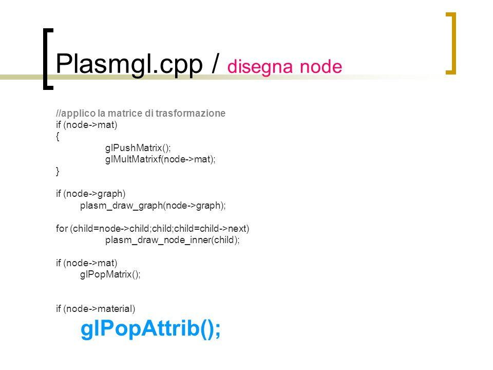Plasmgl.cpp / disegna node //applico la matrice di trasformazione if (node->mat) { glPushMatrix(); glMultMatrixf(node->mat); } if (node->graph) plasm_