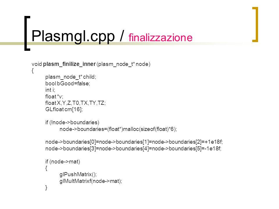 Plasmgl.cpp / finalizzazione void plasm_finilize_inner (plasm_node_t* node) { plasm_node_t* child; bool bGood=false; int i; float *v; float X,Y,Z,T0,T