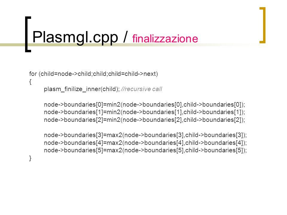 Plasmgl.cpp / finalizzazione for (child=node->child;child;child=child->next) { plasm_finilize_inner(child); //recursive call node->boundaries[0]=min2(