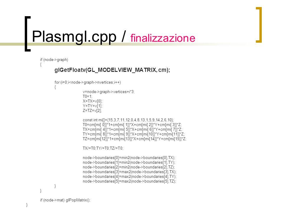 Plasmgl.cpp / finalizzazione if (node->graph) { glGetFloatv(GL_MODELVIEW_MATRIX, cm); for (i=0;i graph->nvertices;i++) { v=node->graph->vertices+i*3;
