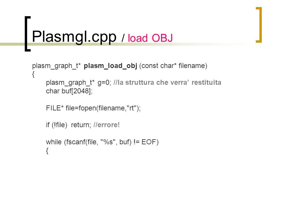 Plasmgl.cpp / load OBJ plasm_graph_t* plasm_load_obj (const char* filename) { plasm_graph_t* g=0; //la struttura che verra restituita char buf[2048];