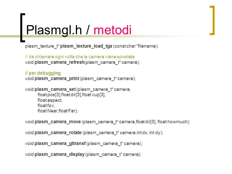 Plasmgl.h / metodi plasm_node_t* plasm_node_load(const char* filename); void plasm_node_destroy (plasm_node_t* node); void plasm_finilize (plasm_node_t* node); void plasm_draw_node (plasm_node_t* node); void plasm_draw_graph (const plasm_graph_t* graph); void plasm_draw_boundaries (plasm_node_t* node); void plasm_set_default_material (plasm_node_t* node,float R,float G,float B); void plasm_add_node (plasm_node_t* parent,plasm_node_t* child);