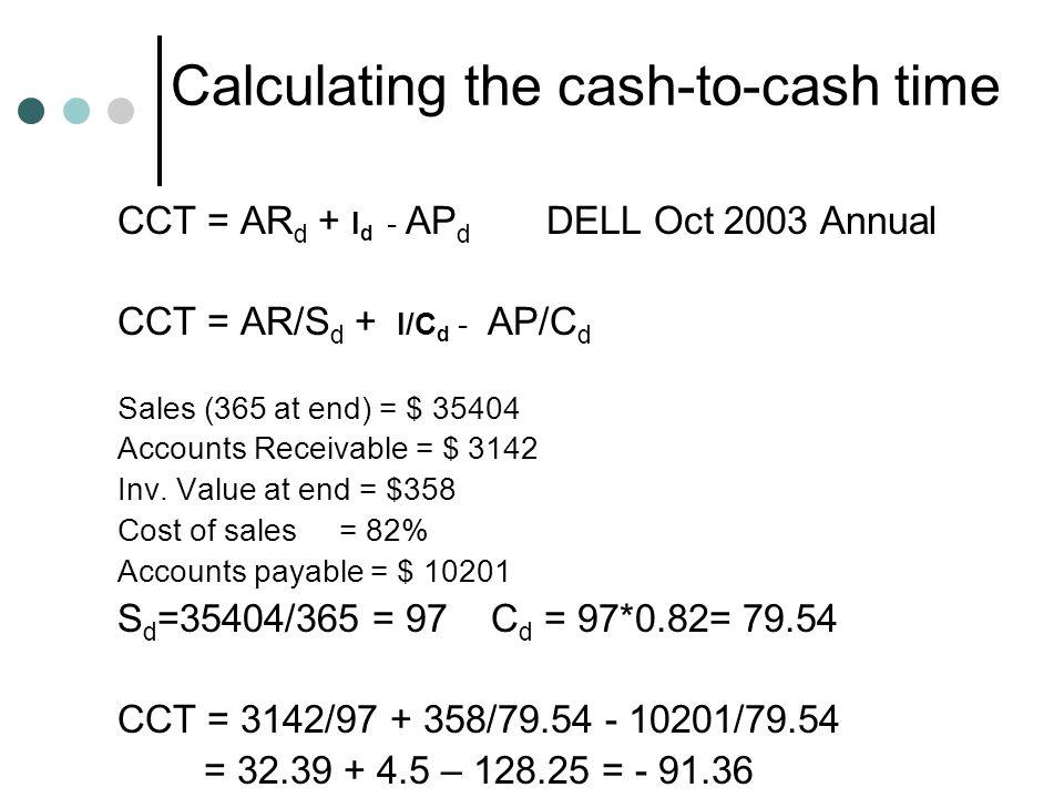 Calculating the cash-to-cash time CCT = AR d + I d - AP d DELL Oct 2003 Annual CCT = AR/S d + I/C d - AP/C d Sales (365 at end) = $ 35404 Accounts Rec