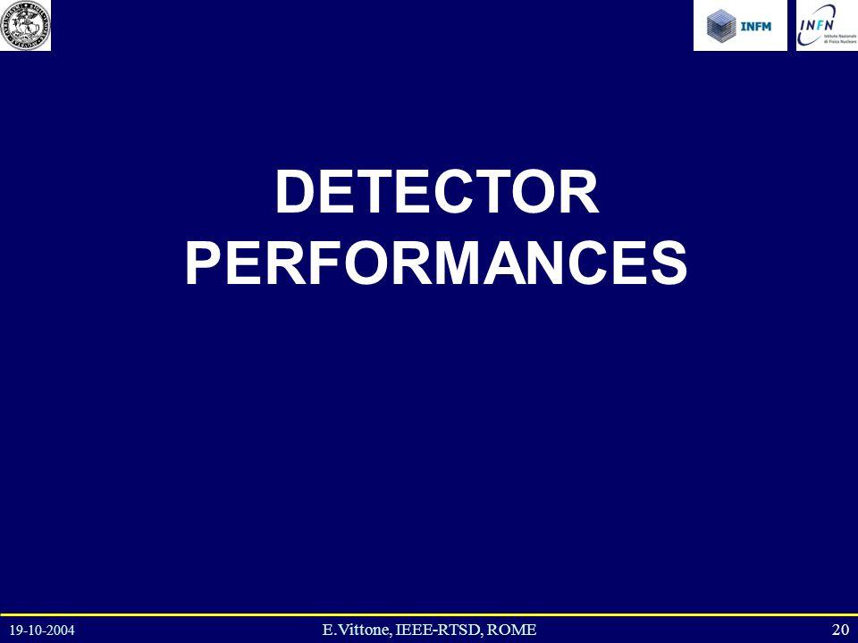 19-10-2004 20E.Vittone, IEEE-RTSD, ROME DETECTOR PERFORMANCES