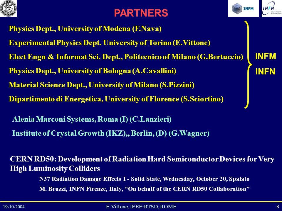 19-10-2004 3E.Vittone, IEEE-RTSD, ROME Physics Dept., University of Modena (F.Nava) Experimental Physics Dept.