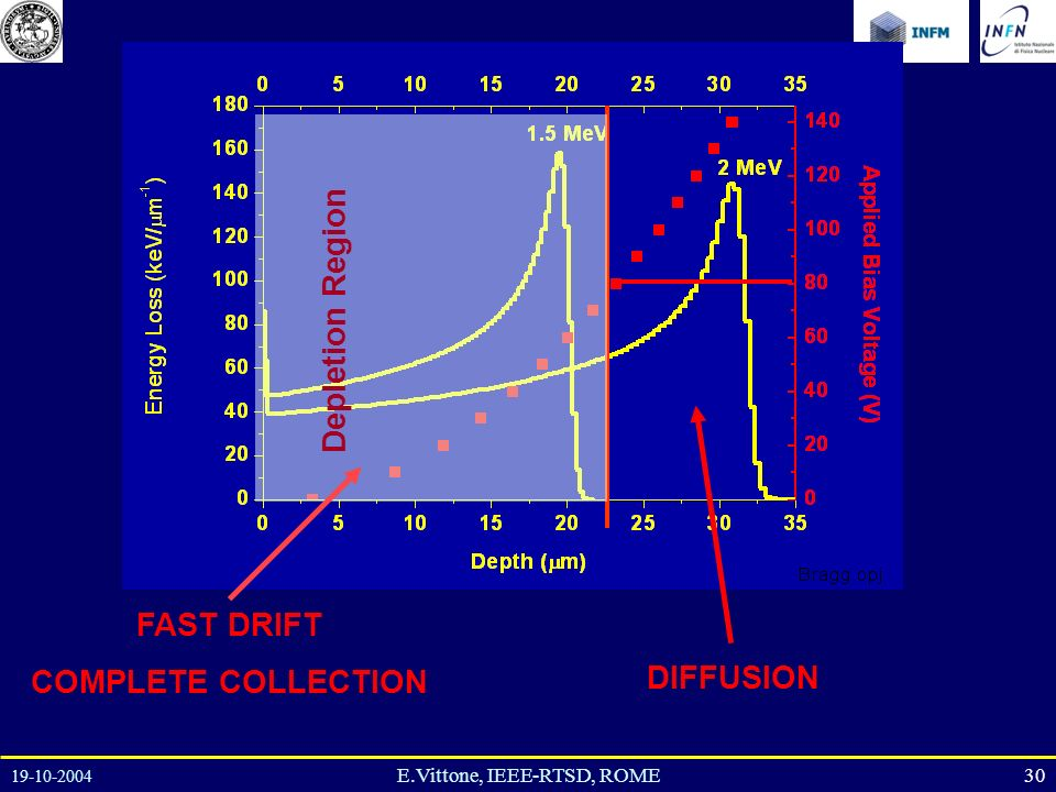 19-10-2004 30E.Vittone, IEEE-RTSD, ROME Depletion Region FAST DRIFT COMPLETE COLLECTION DIFFUSION