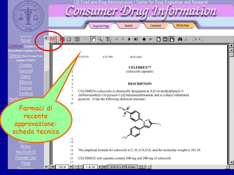 Farmaci di recente approvazione: scheda tecnica