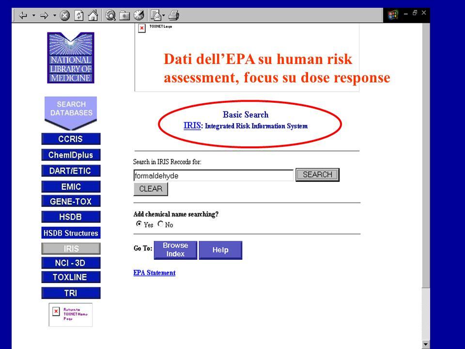 Dati dellEPA su human risk assessment, focus su dose response