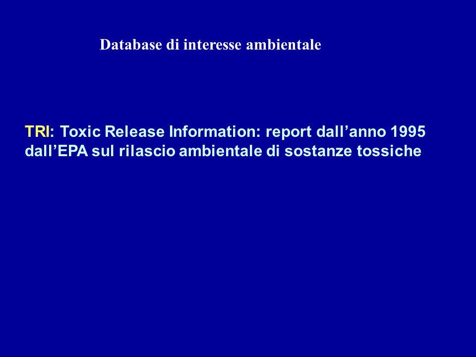 Database di interesse ambientale TRI: Toxic Release Information: report dallanno 1995 dallEPA sul rilascio ambientale di sostanze tossiche
