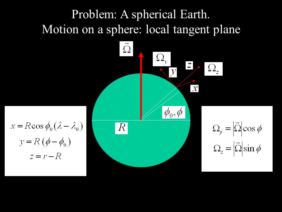 Problem: A spherical Earth. Motion on a sphere: local tangent plane