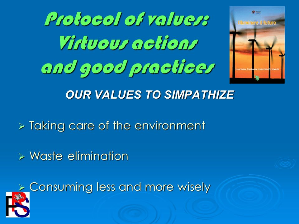 Protocol of values: Virtuous actions and good practices OUR VALUES TO SIMPATHIZE Taking care of the environment Taking care of the environment Waste elimination Waste elimination Consuming less and more wisely Consuming less and more wisely