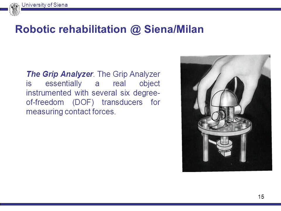 14 Robotic rehabilitation @ Siena Grasp rehabilitation Simpler robotic devices University of Siena