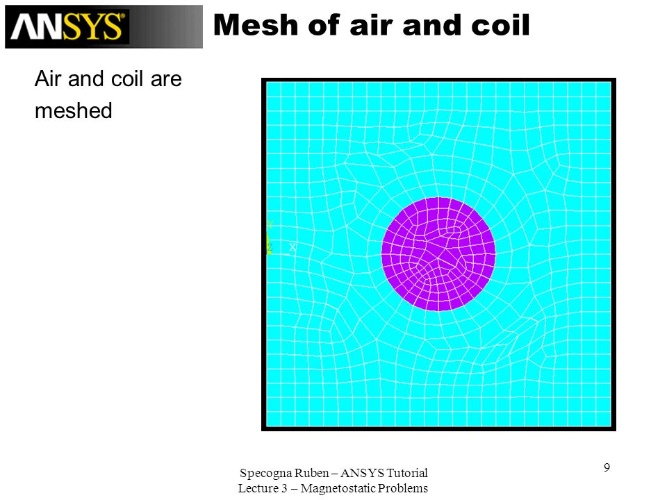 Specogna Ruben – ANSYS Tutorial Lecture 3 – Magnetostatic Problems 9 Mesh of air and coil Air and coil are meshed